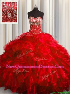 With Train Lace Up Quinceanera Gown Red and In for Military Ball and Sweet 16 and Quinceanera withBeading and Ruffles Brush Train