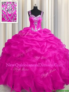 Decent See Through Zipper Up Hot Pink Sleeveless Appliques and Ruffles and Ruffled Layers Floor Length Sweet 16 Dresses