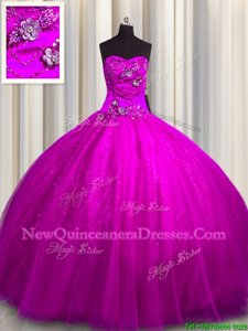 High End Sequined Fuchsia Sweetheart Lace Up Beading and Appliques 15 Quinceanera Dress Sleeveless