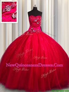 Exceptional Red Ball Gowns Beading and Appliques Quinceanera Gown Lace Up Tulle and Sequined Sleeveless Floor Length