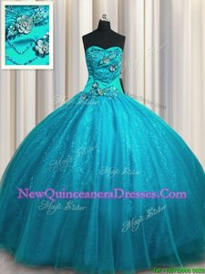 Popular Sequined Sleeveless Beading and Appliques Lace Up Ball Gown Prom Dress