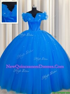 Sweet Royal Blue Ball Gowns Tulle Off The Shoulder Short Sleeves Ruching With Train Lace Up 15 Quinceanera Dress Court Train