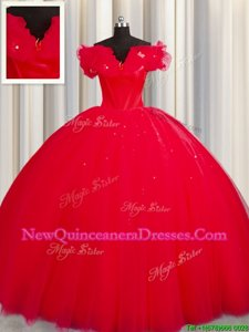 New Style Off The Shoulder Short Sleeves With Train Ruching Lace Up Quinceanera Gown with Red Court Train