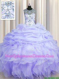 Hot Selling See Through Ball Gowns Sweet 16 Quinceanera Dress Lavender Scoop Organza Sleeveless Floor Length Lace Up