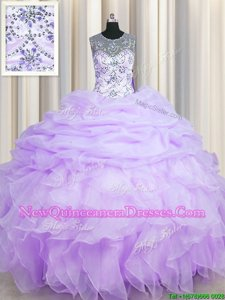 Attractive See Through Scoop Sleeveless Lace Up Sweet 16 Dresses Lavender Organza