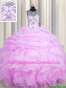 See Through Lilac Scoop Neckline Beading and Ruffles and Pick Ups Sweet 16 Dresses Sleeveless Lace Up