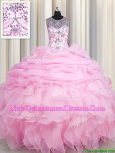 Wonderful See Through Rose Pink Scoop Lace Up Beading and Ruffles and Pick Ups Sweet 16 Dresses Sleeveless