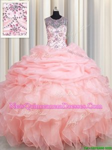 Modern Scoop See Through Baby Pink Ball Gowns Beading and Ruffles and Pick Ups Sweet 16 Dress Lace Up Organza Sleeveless Floor Length