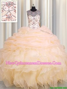 Custom Designed Scoop See Through Sleeveless Lace Up Floor Length Beading and Ruffles and Pick Ups Quinceanera Dresses