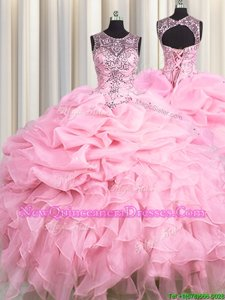 Ideal See Through Baby Pink Organza Lace Up Scoop Sleeveless Floor Length Quinceanera Gown Beading and Ruffles and Pick Ups