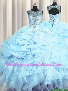 Graceful Scoop See Through Light Blue Sleeveless Organza Lace Up Quince Ball Gowns for Military Ball and Sweet 16 and Quinceanera