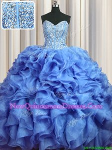 Stylish Visible Boning Bling-bling Sleeveless With Train Beading and Ruffles Lace Up Sweet 16 Quinceanera Dress with Baby Blue Brush Train