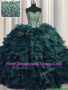 Exquisite Visible Boning Bling-bling Beading and Ruffles Quinceanera Dress Peacock Green Lace Up Sleeveless With Brush Train
