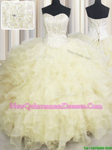 Light Yellow Ball Gown Prom Dress Military Ball and Sweet 16 and Quinceanera and For withBeading and Ruffles Sweetheart Sleeveless Lace Up