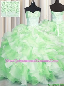 Enchanting Visible Boning Two Tone Multi-color Ball Gowns Sweetheart Sleeveless Organza Floor Length Lace Up Beading and Ruffles Sweet 16 Dress