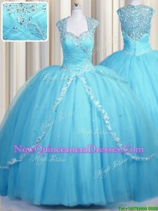 Elegant See Through Sweetheart Cap Sleeves Tulle Quinceanera Dresses Beading and Appliques Brush Train Zipper