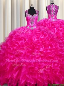 Inexpensive Zipper Up See Through Back Fuchsia Sweet 16 Dress Military Ball and Sweet 16 and Quinceanera and For withBeading and Ruffles Straps Sleeveless Sweep Train Zipper