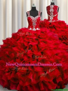 Fashion Zipple Up See Through Back Floor Length Wine Red Quinceanera Dress Straps Sleeveless Zipper