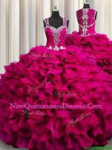 Pretty Zipple Up See Through Back Sleeveless Floor Length Beading and Ruffles Zipper Sweet 16 Quinceanera Dress with Fuchsia