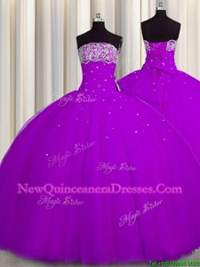 Really Puffy Purple Sleeveless Tulle Lace Up 15th Birthday Dress for Military Ball and Sweet 16 and Quinceanera