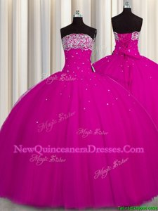 Puffy Skirt Strapless Sleeveless Sweet 16 Quinceanera Dress Floor Length Beading and Sequins Fuchsia Tulle