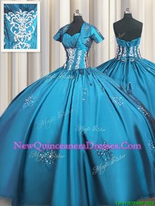Delicate Teal Taffeta Lace Up Sweetheart Short Sleeves Floor Length Quinceanera Dress Beading and Appliques and Ruching