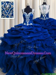 Hot Sale Zipple Up See Through Back Royal Blue Ball Gowns Straps Sleeveless Organza Floor Length Zipper Beading and Ruffles and Sequins and Pick Ups Ball Gown Prom Dress