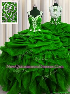 Simple See Through Back Sequins Floor Length Green Sweet 16 Quinceanera Dress Straps Sleeveless Zipper