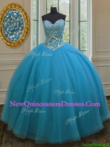 Unique Teal Tulle Lace Up Sweetheart Sleeveless Floor Length Sweet 16 Quinceanera Dress Beading