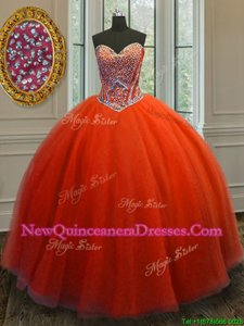 Edgy Beading Sweet 16 Dresses Orange Lace Up Sleeveless Floor Length