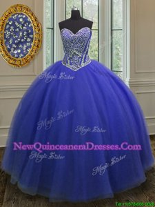 Glorious Floor Length Ball Gowns Sleeveless Royal Blue 15th Birthday Dress Lace Up