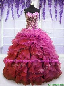 Extravagant Beading and Ruffles Quince Ball Gowns Lilac Lace Up Sleeveless Floor Length