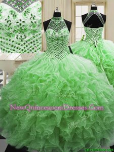 Unique Spring Green Lace Up Halter Top Beading and Ruffles Quinceanera Dresses Tulle Sleeveless