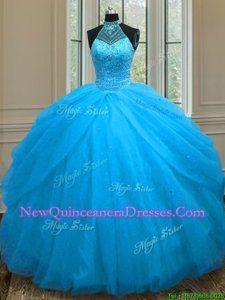 Amazing Sleeveless Floor Length Beading Lace Up Quinceanera Gown with Baby Blue