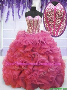Sweetheart Sleeveless Sweet 16 Quinceanera Dress Sweep Train Beading and Ruffles Pink Organza