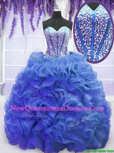 Clearance Lace Up Sweet 16 Dress Royal Blue and In for Military Ball and Sweet 16 and Quinceanera withBeading and Ruffles Sweep Train