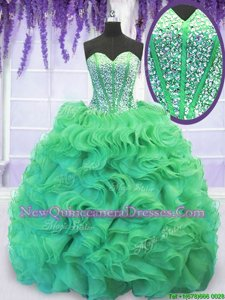 Delicate Turquoise Organza Lace Up Sweetheart Sleeveless With Train Quinceanera Dress Brush Train Beading and Ruffles