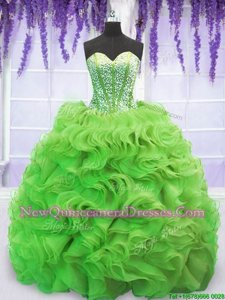 Romantic Spring Green 15th Birthday Dress Military Ball and Sweet 16 and Quinceanera and For withBeading and Ruffles Sweetheart Sleeveless Sweep Train Lace Up