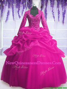 High End Fuchsia Zipper V-neck Sequins and Pick Ups Sweet 16 Quinceanera Dress Organza Long Sleeves