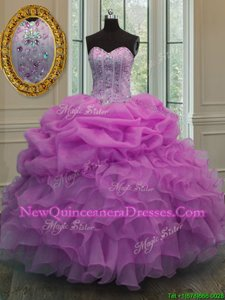 High Class Lilac Sweet 16 Quinceanera Dress Military Ball and Sweet 16 and Quinceanera and For withBeading and Ruffles and Pick Ups Sweetheart Sleeveless Lace Up