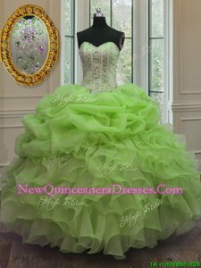 Pick Ups Sweetheart Sleeveless Lace Up Quince Ball Gowns Spring Green Organza