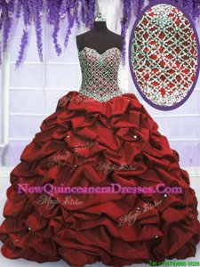 Traditional Wine Red Ball Gowns Taffeta Sweetheart Sleeveless Beading and Sequins and Pick Ups Floor Length Lace Up Ball Gown Prom Dress