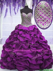 Trendy Sleeveless Taffeta Floor Length Lace Up Sweet 16 Quinceanera Dress inFuchsia withBeading and Sequins and Pick Ups