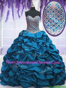 Beautiful Blue Sweet 16 Dress Military Ball and Sweet 16 and Quinceanera and For withBeading and Sequins and Pick Ups Sweetheart Sleeveless Lace Up