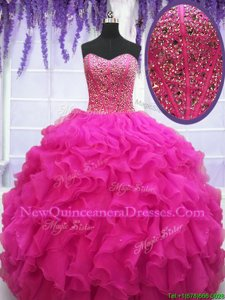 Fabulous Floor Length Fuchsia Sweet 16 Quinceanera Dress Sweetheart Sleeveless Lace Up