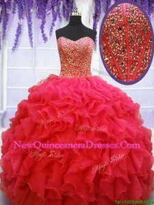 Coral Red Organza Lace Up Vestidos de Quinceanera Sleeveless Floor Length Beading and Ruffles