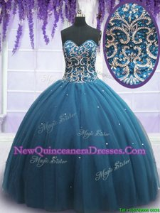 Teal Sleeveless Floor Length Beading and Appliques Lace Up Sweet 16 Dress