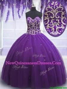 Glittering Floor Length Eggplant Purple Quince Ball Gowns Sweetheart Sleeveless Lace Up