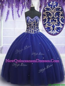 Dramatic Royal Blue Sweetheart Lace Up Beading Sweet 16 Dress Sleeveless