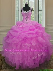 Custom Designed Straps Straps Lilac Organza Zipper Sweet 16 Quinceanera Dress Sleeveless Floor Length Beading and Ruffles